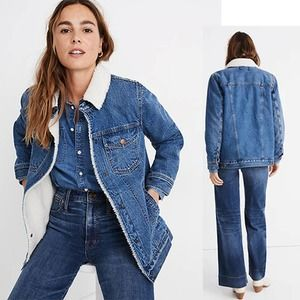 Madewell The Oversized Jean Jacket Donaway Wash In Sherpa Edition Size: XL NWOT